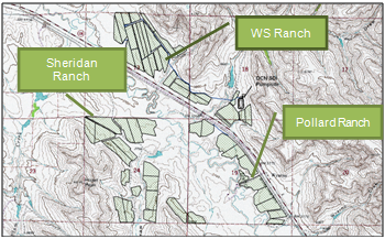 Map of Dutch Creek North SDI system covering 500 acres (202 ha.)