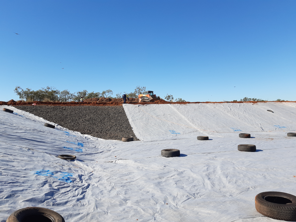 Nearly Complete Geotextile Installation