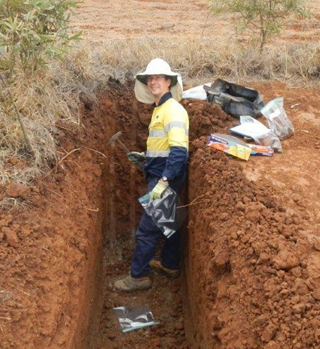 Soil scientist characterising soil profile